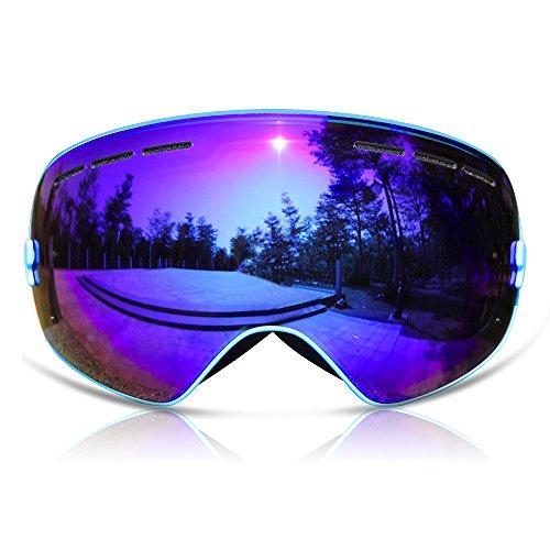 GANZTON Skibrille Snowboard Brille Doppel-Objektiv UV-Schutz Anti-Fog Skibrille Für Damen Und Herren Jungen Und Mädchen Himmelblau