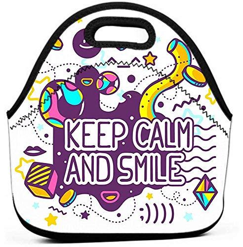 Durable School Lunch Box für Männer Frauen, Jungen, Mädchen, Kinder hell behalten ruhiges Lächeln Zitat Hand zeichnen Linie Kunst Website Werbung