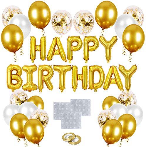 O-Kinee Geburtstagsdeko Gold Set, Geburtstag Dekoration Gold, Happy Birthday Girlande Ballons Banner Buchstaben Gold, Luftballons Geburtstag Gold für Mädchen Jungen Frauen Männer Party Geburtstag