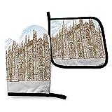 Manoplas Horno Dibujar A Mano La Catedral De Milán Guantes De Cocina Durable Guantes Horno para Hornear Barbacoa