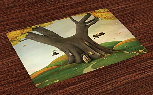 ABAKUHAUS Baum Platzmatten, Fantastisches Art-gemütliches Baum-Stamm-Haus mit defoliated Autumn Leaves Piles, Tiscjdeco aus Farbfesten Stoff für das Esszimmer und Küch, Lindgrün und Sepia