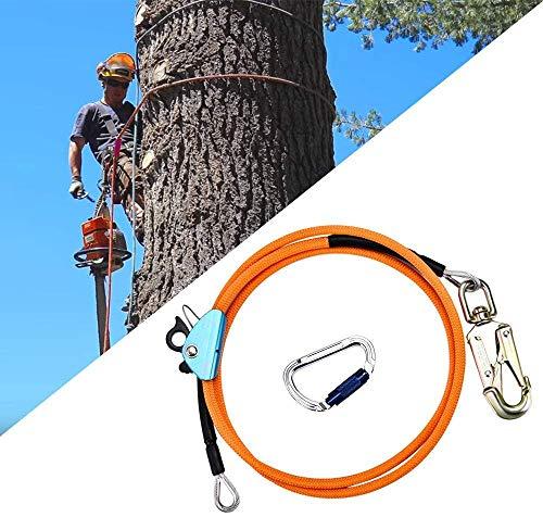 SEAAN Stahlseilkern-Flip-Line-Kits mit Triple Lock Karabiner-Einsteller - Geringe Dehnung - Schnittfest - für Absturzsicherung, Baumkletterer, Kletterseil Lanyard zum Klettern