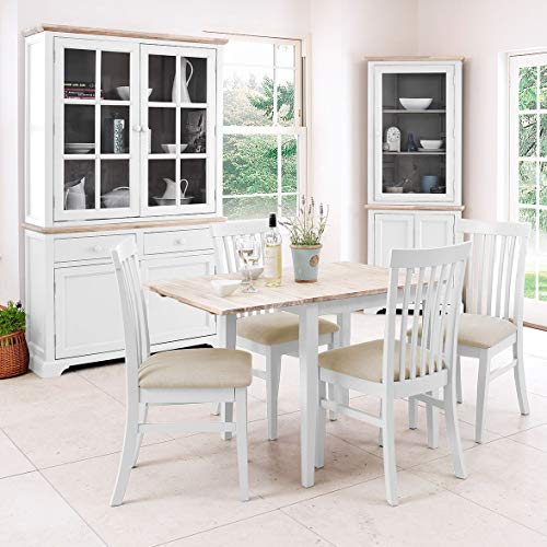 Florence white extending table and 4 upholstered chairs set. White kitchen dining breakfast table and 4 chairs.