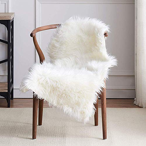 LEEVAN Faux Sheepskin Fur Rug Fluffy Computer Office Chair Couch Cover Shaggy Throw White Fur are Rugs for Bedroom Sofa Living Room Floor Mat Carepet- 2 ft x 3 ft, Ivory White