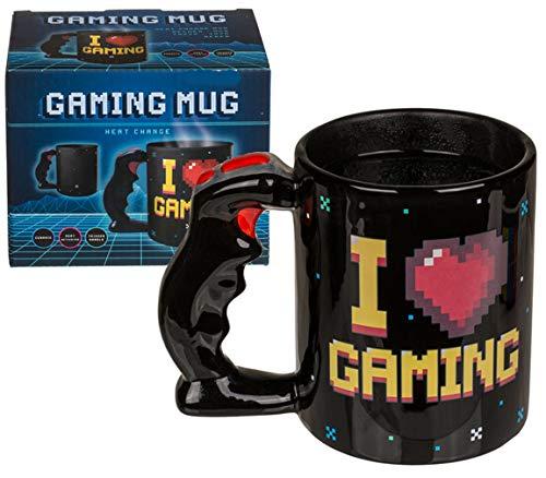 Bada Bing Tasse I Love Gaming Aus Keramik Kaffee Becher Mit Wärmeeffekt Ca. 320 ml Füllmenge Mit 3D Controller Joystick 65