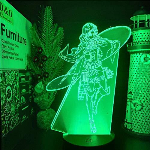 Luz nocturna 3D ilusión para niños, 16 colores, luz de conversión de colores Levi Ackerman 3D LED, lámpara de noche de anime, lámpara de mesa de regalo