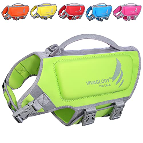 VIVAGLORY Sports Style Neoprene Dog Life Jacket Reflective Safety Vest with Superior Buoyancy and Rescue Handle for Swimming & Boating, Green, Extra Small