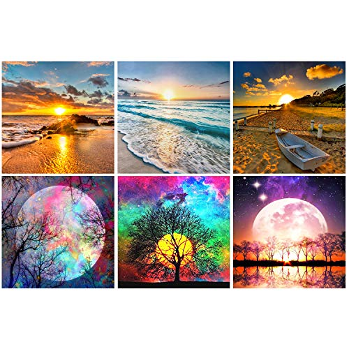 6 Pack 5D DIY Full Drill Diamond Painting Kits, Round Crystal Rhinestone Adults Diamond Painting Beach Picture for Home Decoration Moon(Cross-Stitch Patterns 12x12inch)