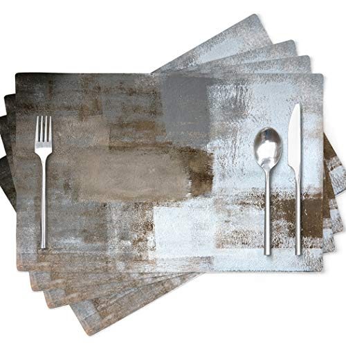 Modern Art Placemats Cafe Placemats Abstract Art Painting Artwork Dining Placemats 4 Pack Brown
