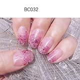 LIHI Color Lab 22PCS (2 trial samples)ADHESION Nail Art Transfer 3D Double Ended Decals Sticker Glitter Series DIY Nail Polish Strips ,Nail Wraps, 100% Real Nail polish applique,French Gradient Glitter Shimmer,BC305 Jelly Pink French