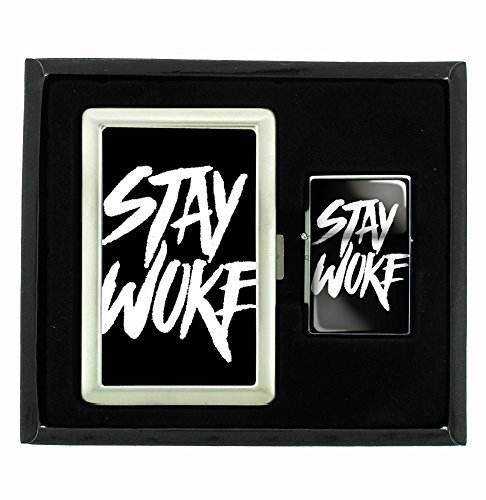Read About Stay Woke Movement Cigarette Case and Flip Top Oil Lighter Set