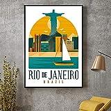 DHLHL Vintage Rio Brasilien Leinwanddruck Wandkunst Poster