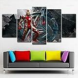 WJTYX Cuadro En Lienzo 5 Piezas Vengadores Iron Man Mural 5 Piezas Inicio Decoración Lienzos Listo para Colgar Cuadros de 5 Piezas en Lienzo 150x80cm