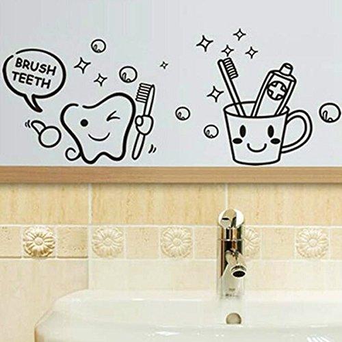 PhilMat Brosse à dents amovible imprimées décalque de mur de salle de bains autocollant imperméable à l'eau
