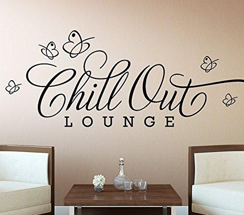Wandora Wandsticker Chill Out Lounge I schwarz (BxH) 80 x 28 cm I Schmetterlinge Wandaufkleber Wohnzimmer Wandtattoo Schlafzimmer Aufkleber Sticker Wand G046