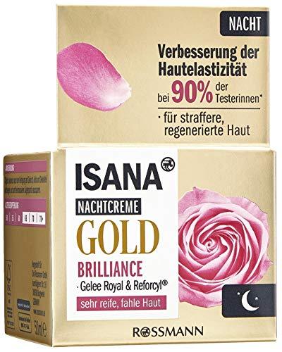 ISANA Age Performance Gold Nachtcreme 50 ml für sehr reife, müde Haut, Gelee Royal & Reforcyl®, Hautverträglichkeit dermatologisch bestätigt