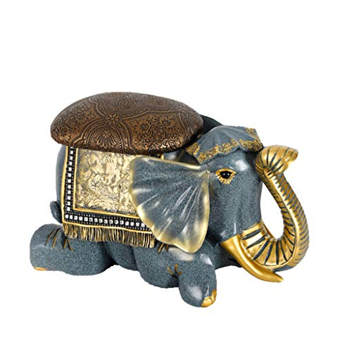 LXLTL Banco de Almacenamiento, Elefante Resina Taburete Asiento Puff Baúl, Sillón Arcón Plegable, Capacidad de Carga de 150 kg,A,42.5x28x21.5cm