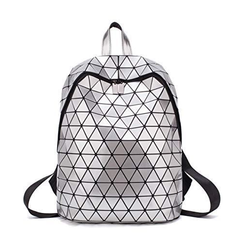 FZChenrry Geometrische Tasche Geometrischer Rucksack Damen Leuchtender Holographic Rucksäcke Reflektierend Festival Beutel Silber