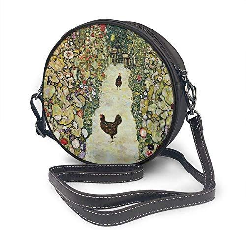 naotaori Bolso redondo mujer Round Crossbody Bag Garden with Roosters Handbag Purse Single Shoulder Bag Sling Bag