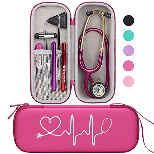 BOVKE Travel Carrying Case for 3M Littmann Classic III,MDF Acoustica Deluxe Stethoscopes - Extra Room for Medical Bandage Scissors EMT Trauma Shears and LED Penlight, Raspberry