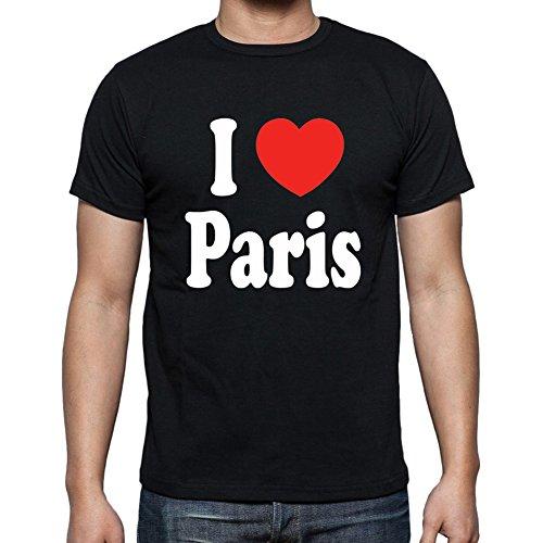 One in the City I Love Paris Black T-Shirt,Cadeau,Homme - Black, M,t Shirt Homme