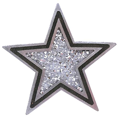Rhinestone Leather Patch Dallas Cowboys Star for Ladies Appliqué. Silver with Black Painting. Size 2.4' (63mm). (White)