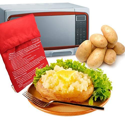 Sacchetto di patate per forno a microonde, riutilizzabile, sacchetto per patate, sacchetto espresso per cottura in soli 4 minuti, borsa lavabile 7.87x9.84inch Rosso