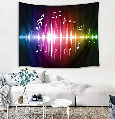HVEST Music Tapestry Jumping Musical Notes Wall Hanging Hippie Wall Tapestries for Bedroom Living Room Dorm Party Wall Decor,60Wx40H inches