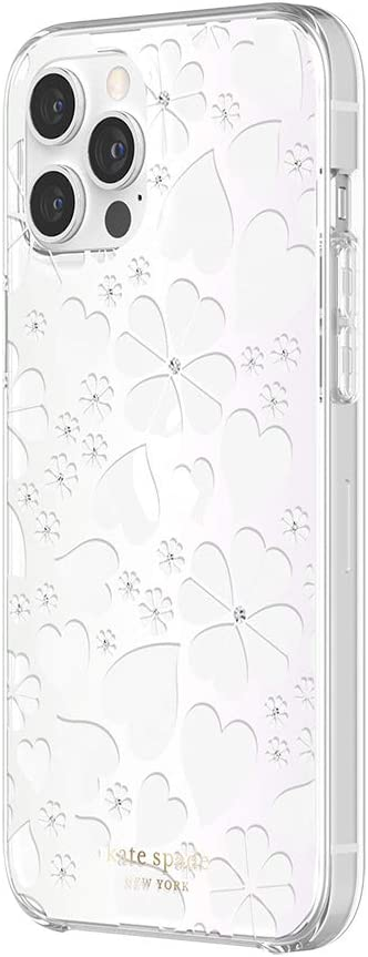 kate spade new york Protective Hardshell Case Compatible with iPhone 12 Pro Max - Clover Hearts Knockout Pearlized White/Clear/Gems