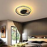 LED Ronda Lámparas de Techo Negro Anillo Luz Regulable Con Control Remoto(3000K-6000K) Sala de Estar Comedor Diseño Iluminación Interior Dormitorio Cocina Oficina Entrada Brillo Variable,Ø42*5cm