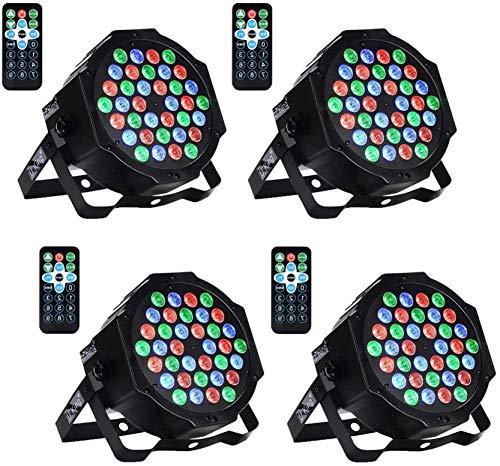 UKing Par LED,36x1W DMX512 RGB LED Luci Palco con Suono Attivato e Telecomando, 4 unità