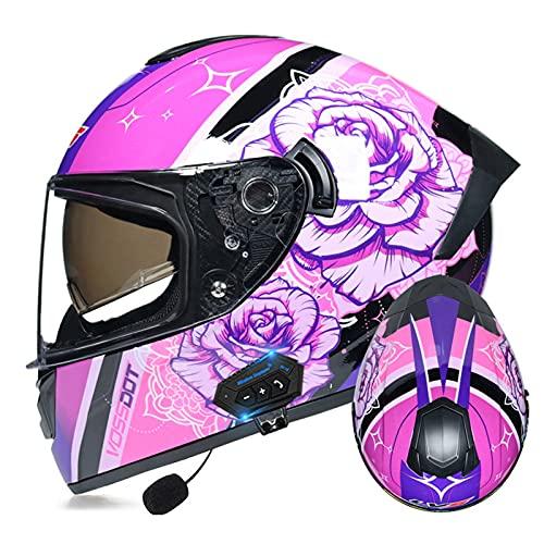LIRONGXILY Casco Moto Modular Casco Integral Casco Moto Bluetooth Integrado Casco Modular con Doble Visera Casco Moto Jet para Hombre O Mujer ECE Homologado (Color : #21, Size : 61-62cm(XL))