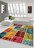 Traum Alfombra diseñador Alfombra Moderna Sala de Estar Alfombra a Cuadros Multicolor Alfombra de Mosaico en Verde Rojo Amarillo Azul Turquesa Größe 160x230 cm