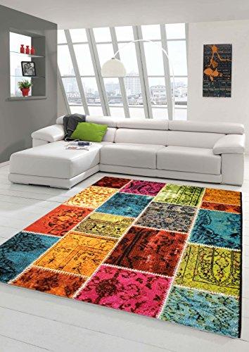 Traum Alfombra diseñador Alfombra Moderna Sala de Estar Alfombra a Cuadros Multicolor Alfombra de Mosaico en Verde Rojo Amarillo Azul Turquesa Größe 200 x 290 cm