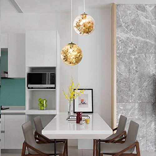 Pendelleuchte Glas Hängeleuchte Modern Kristall Kronleuchter Höhenverstellbar E27 Kugel Hängelampe Klare Blumendesign Glas Lampenschirm Kreative Design Innen Dekoration (Gold)