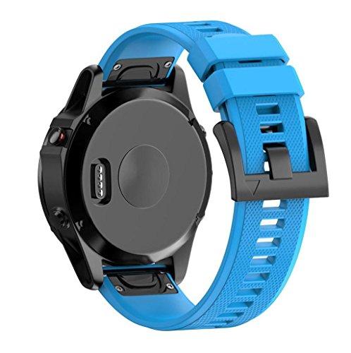 Correas para Garmin fenix 5 GPS, Sannysis banda de silicona de garmin fenix 5 correa (Azul)