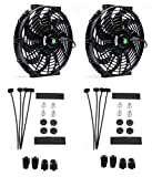 Atublan (Pack of 2) Engine Radiator Cooling Fan 12 Inch Curved Blade Ultra Thin Universal High Performance 12V 80W Motor,with Fan Mounting Kit(Puller and Pusher Design)