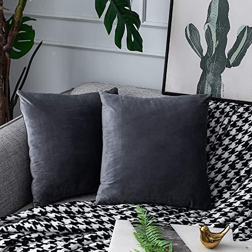 UPOPO Juego de 2 fundas de cojín de terciopelo, decorativas, de un solo color, suave, con cremallera, 50 x 50 cm, color gris