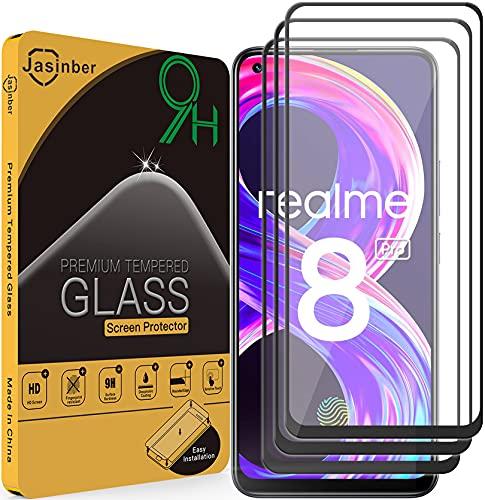 Jasinber 3 Piezas Mica Vidrio Cristal Templado Protector de Pantalla Compatible con Realme 8/8 Pro