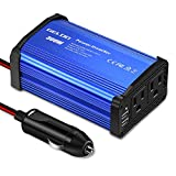 GELOO 300W Power Inverter Car Charger DC 12V to 110V AC Converter with 4.8A Dual USB Ports (Blue)