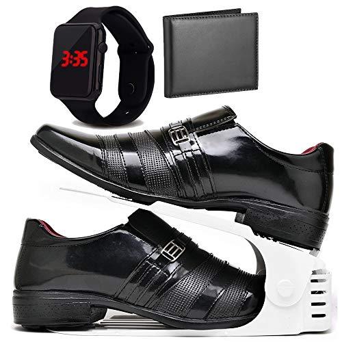 Kit Sapato Social Verniz Com Organizador, Carteira e Relogio LED Masculino DUBUY 813DB Tamanho:44;cor:Preto;gênero:Mascu