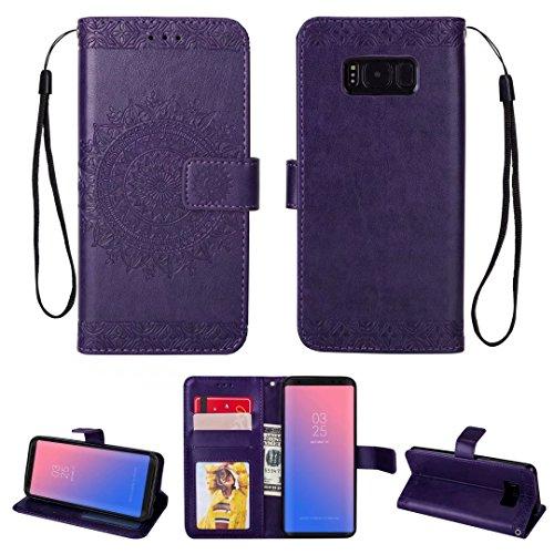 iPhone 5/5S/5SE hoesje PU lederen portemonnee reliëf Mandala bloem standaard Flip case credit card slot beschikt over beschermende DECHYI case, Paars, Samsung Galaxy S8 Plus