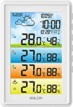 Decdeal Wireless Home Weather Station Hygrometer Thermometer Digital Moon Phase Alarm Clock Colorful Barometer Thermohygro...