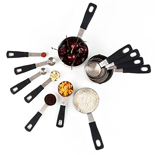 Rorence 18-8 Stainless Steel Measuring Cups and Spoons Set with Long Silicone Handle, Set of 12 - Black