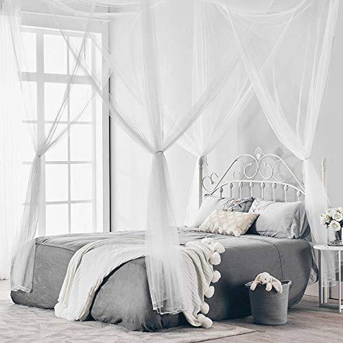 Wuudi Dekoratives 4 Eckbett-Netz, Baldachin, Vorhänge, Moskitonetz, Insektenschutz, Prinzessinnen-Betthimmel, passend für Doppelbetten, Schlafzimmer-Dekor weiß