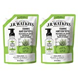 J.R. Watkins Foaming Hand Soap Refill Pouch, Scented Foam Handsoap for Bathroom orKitchen, USA Made and Cruelty Free, 28 fl oz, Aloe & Green Tea, 2 Pack