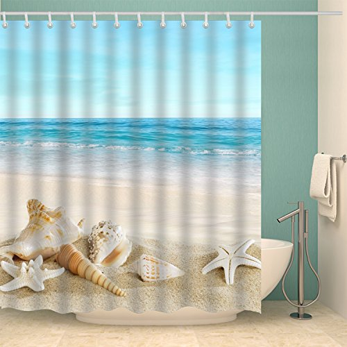 Jibin Bong 72 X 72 Inch Blue Sky Tropical Beach Shower Curtain Starfish Conch Seashell Shower Curtains - Waterproof Fabric Polyester Bathroom Decor Ocean Shower Curtain
