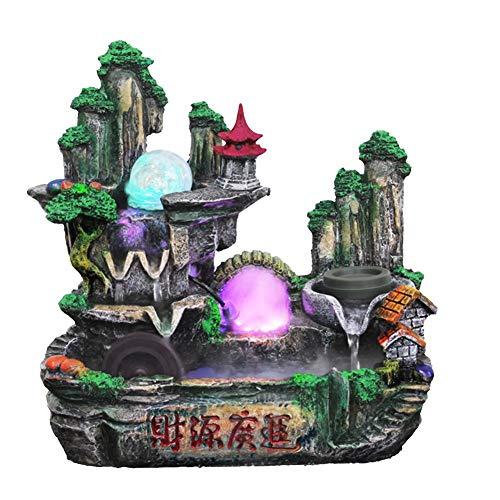 Caredy Fuente de Mesa de Roca Interior, Fuente de Mini Cascada Fuente de Escritorio Fuente de Mesa Mini Cascada Hermosa Fuente de Agua LED Artificial Simulación de Resina Rockery(Enchufe de 220V UE)