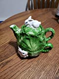 Embossed White Bunny Tea for One Cabbage Shape TEAPOT & CUP SET Spring Easter Baby Shower