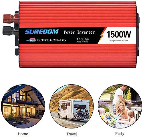 GYS Spannungswandler 1500 W (Peak 3000 W) 12 V / 24 V 220 V / 230 V Wechselrichter Dual USB Power Inverter mit 1 Steckdose, für Auto, Wohnwagen, Boot